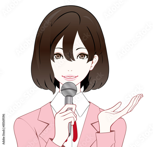 Valokuva  スーツの女性 マイク 紹介