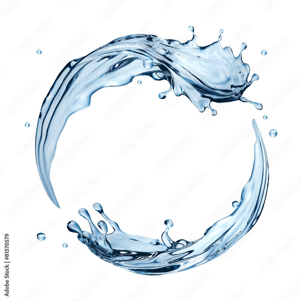 Fototapeta 3d water splashing round frame, aqua, isolated liquid splash