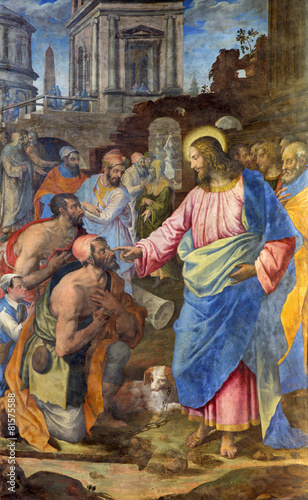 Rome - Jesus healing of paralysed man - Santo Spirito in Sassia Canvas Print