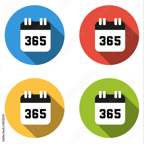 Fotografia  Collection of 4 isolated flat buttons (icons) for number 365
