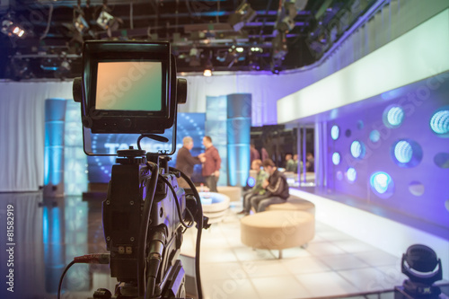Television studio with camera and lights - recording TV show Canvas Print