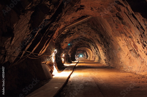 Dark tunnel in old uranium mine in Poland