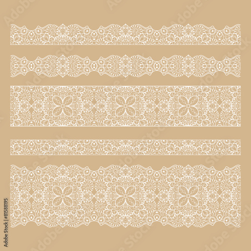 Valokuva  Set of seamless lace borders with transparent background