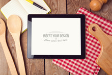 Tablet Nock Up Template For Recipe, Menu Or Cooking App Display