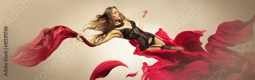 Девушка в дамском белье вылетает из платья - цветка Canvas Print