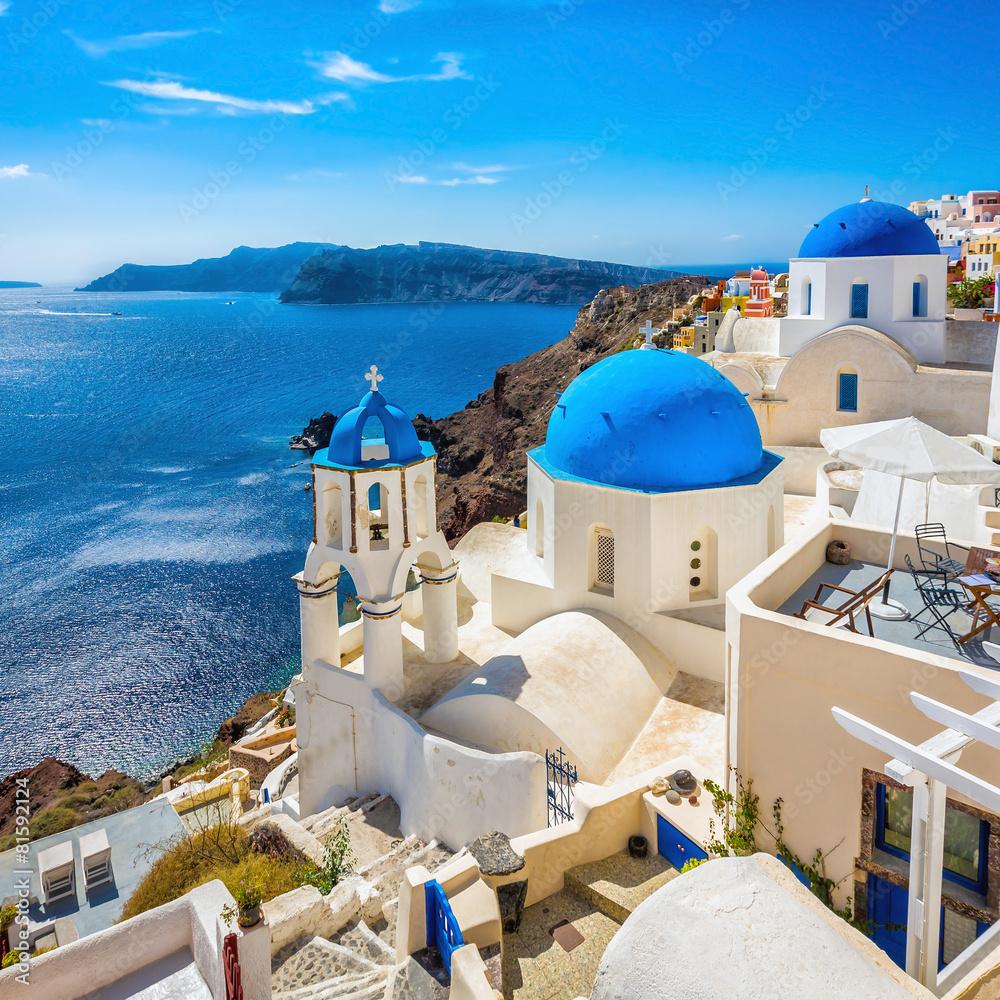 Fototapeta Santorini blue dome churches, Greece