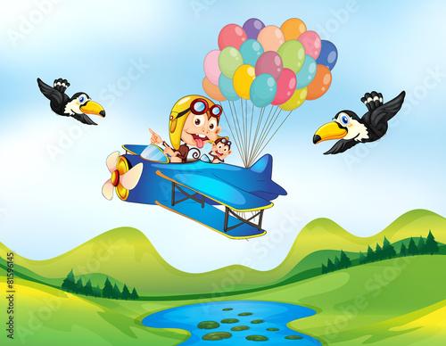 Spoed Foto op Canvas Vliegtuigen, ballon Monkey and helicopter