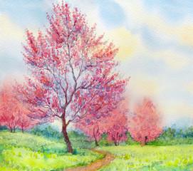Obraz Watercolor spring landscape. Flowering tree in a field