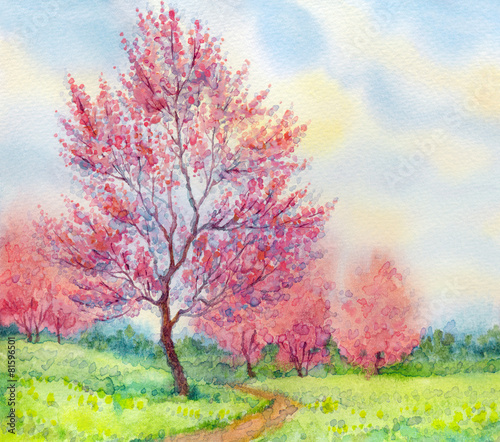 Watercolor spring landscape. Flowering tree in a field - 81596501