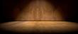 Leinwanddruck Bild - Fondo pared y suelo  de cemento en la oscuridad