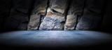 Fototapeta Kamienie - Fondo suelo de cemento y pared de roca