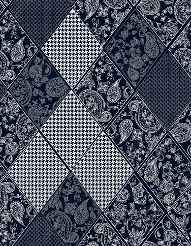 Photo  Seamless background lace, paisley and pied-de-poule, houndstooth