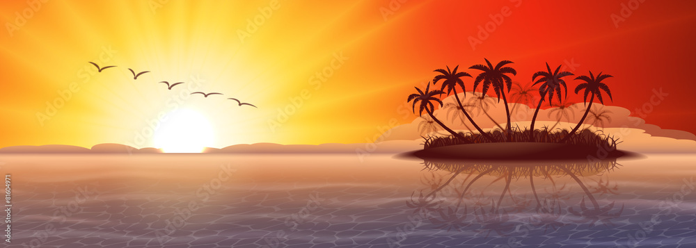 Fototapeta Panoramic background with tropical island at sunset