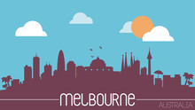 Melbourne Australia Skyline Silhouette Flat Design Vector
