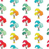 wonderful seamless pattern of trees in autumn, spring, winter an