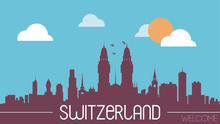 Switzerland Skyline Silhouette Flat Design Vector Illustration