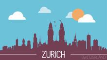 Zurich Switzerland Skyline Silhouette Flat Design Vector