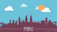 Peru Skyline Silhouette Flat Design Vector Illustration