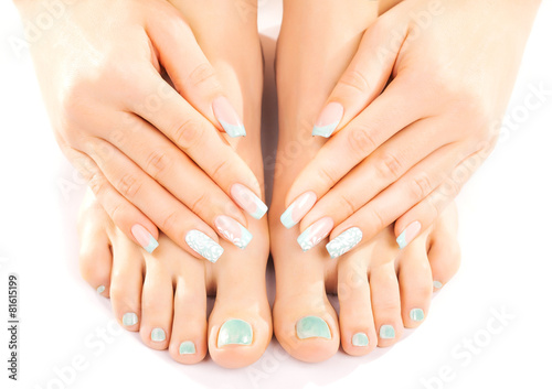 Poster Pedicure beautiful feet with turquoise pedicure isolated