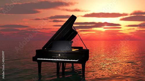 Plakat fortepian na oceanie