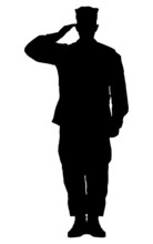 Silhouette Of A Soldier Saluti...