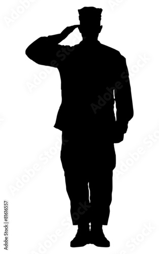 Fotografia  Silhouette of a soldier saluting isolated on white background.