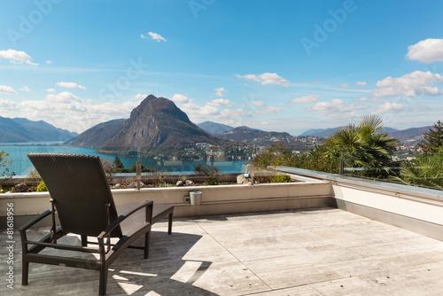 Obraz na płótnie Architecture, terrace with lake view