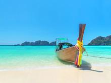 Traditional Thai Longtail Boat At Long Beach, Phi Phi Island Tha