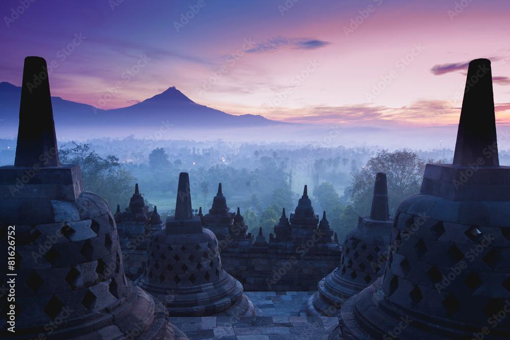Fototapety, obrazy: Borobudur Temple is sunrise, Yogyakarta, Java,
