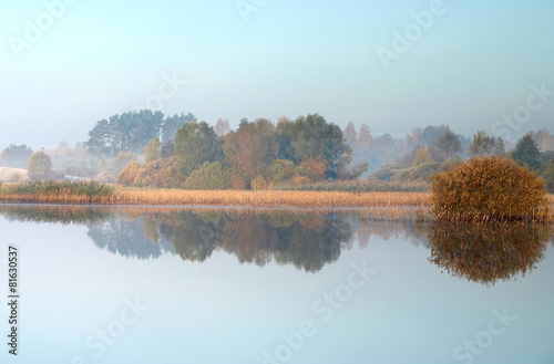 Photo Stands Lake Autumn landscape with lake
