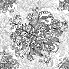 Seamless pattern  from doodle flowers  in grey