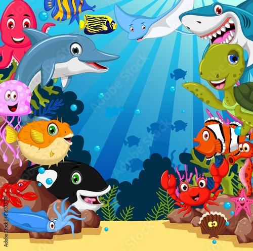 zabawny-zestaw-zwierzat-morskich-kreskowek