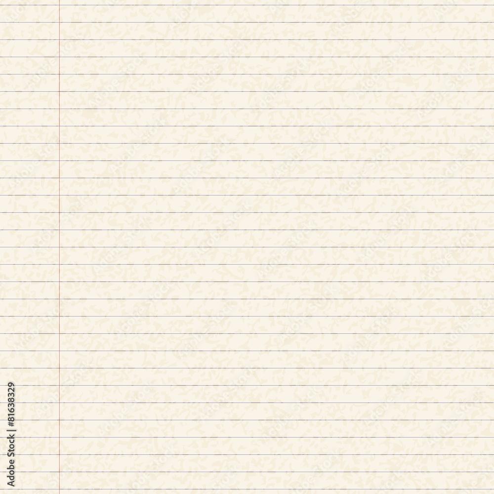 Fototapeta Illustration of a sheet of lined paper