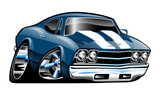 Classic American muscle car cartoon isolated vector illustration, shiny blue paint with white stripes, lots of chrome, big tires and rims, cool stance