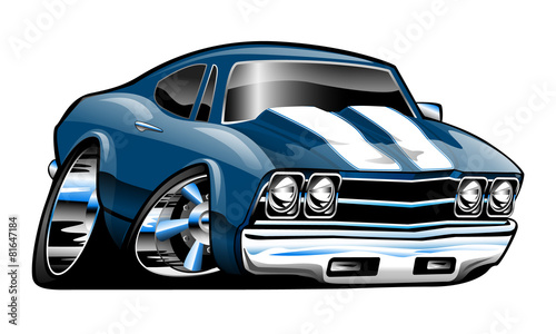 Staande foto Cartoon cars Classic American Muscle Car Cartoon Vector Illustration