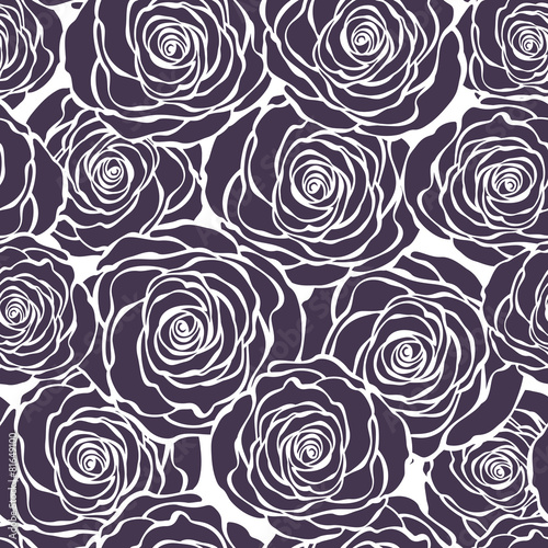Purple floral seamless pattern with roses. Vector roses hand dra