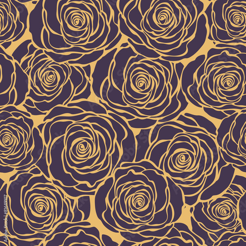Art Deco floral seamless pattern with roses. Vector roses hand d