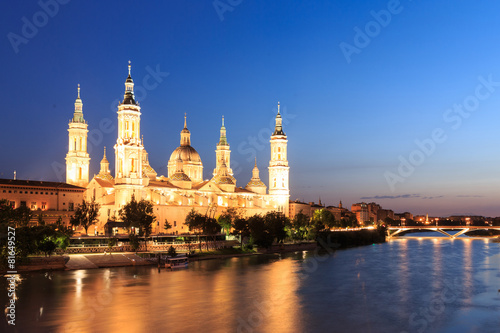 Foto op Canvas Brussel Great evening view of the Pilar Cathedral in Zaragoza
