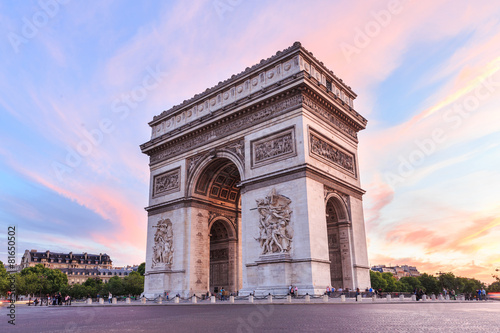 Spoed Foto op Canvas Parijs Champs-Elysees at sunset in Paris