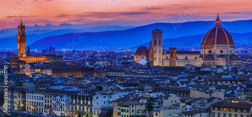 Aluminium Prints Florence Florence city at sunset