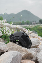 Special Force Modern Combat Helmet On Ground, River,mountain,