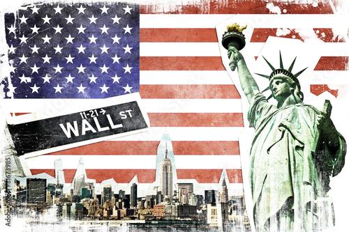 obraz lub plakat Nowy Jork kolaż archiwalne, USA flaga w tle