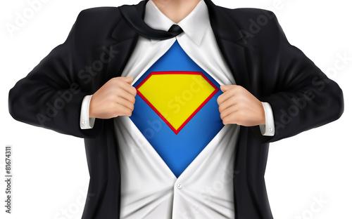 Fotografie, Tablou  businessman showing superhero icon underneath his shirt
