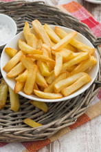 Fried French Fries With Tomato Sauce, Vertical, Top View