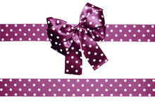 Violet Bow And Ribbon With White Polka Dots Made From Silk
