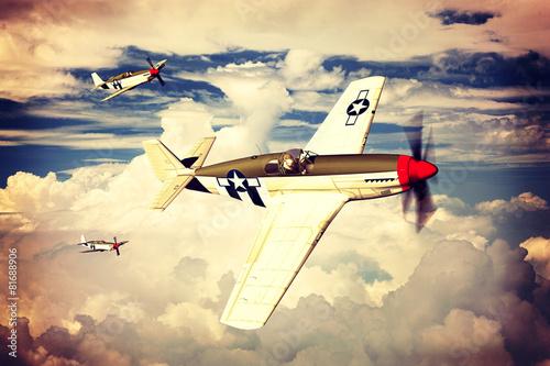 P-51B Mustang Wallpaper Mural