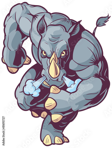 Fotografie, Obraz  Charging Vector Mascot Cartoon Rhino Front