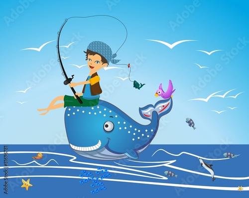 Fototapeta Wieloryb i chłopiec, obraz