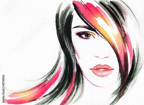 portret-kobiety-abstrakcyjna-akwarela