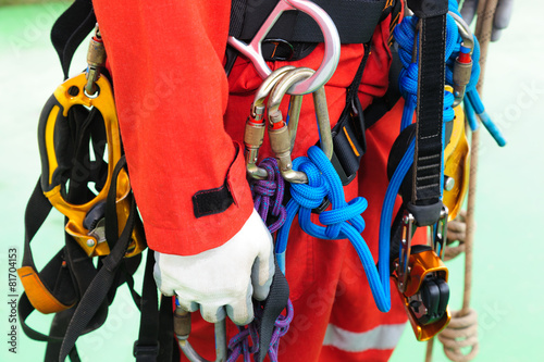 Foto op Canvas Piraten Fully rope access equipment on inspector man